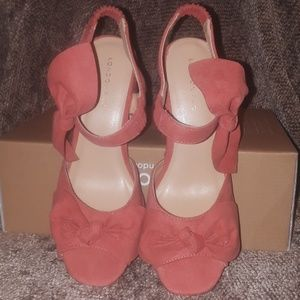 58ff127d728 London Rag Shoes - London Rag Soft Coral Loren Chunky Heels with Bow